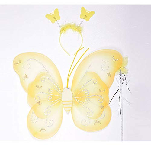 - Girl Butterfly 3 Pcs Set Double Wings Fairy and Angel Wings for Kids Cute Series for Halloween Dress Up Party with Headgear and Princess Wand,Yellow