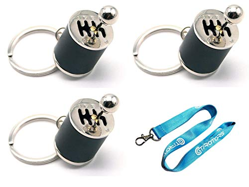 GT//Rotors [Pack of 3] Six Speed Manual Gearbox Shift Lever Fidget Toy Keychain [Bonus: Free Lanyard]