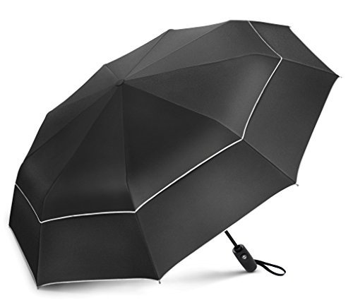 (EEZ-Y Compact Travel Umbrella w/UV Protection - UPF 50+ Sun and Rain - Auto Open Close)