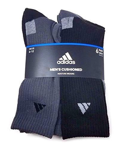 Adidas 6 Pair Men's Cushioned Crew Socks, Black/Grey (Shoe: 6-12) -