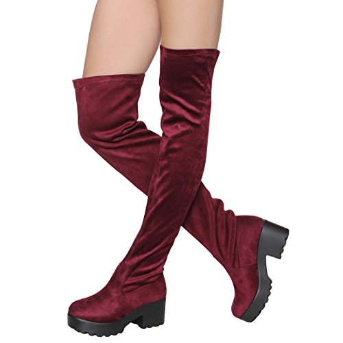ShoBeautiful Womens Thigh High Platform Boots Sexy Chunky Block Heel Stretch Pull on Over The Knee Tall Boots Burgundy ()