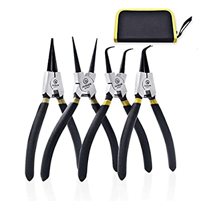 4 Piece 7-Inch Snap Ring Pliers Set, Internal/External Circlip Pliers Kit Straight/Bent Jaw Pliers Tips C-Clip Pliers with Storage Pouch