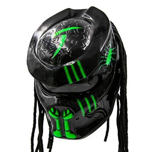 - Predator Motorcycle Helmet - DOT Approved - Unisex - Alien Green Chaos
