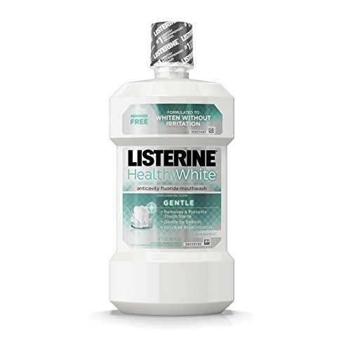 Gentle Mouth Rinse - Listerine Healthy White Anticavity Peroxide-Free Fluoride Mouthwash, Gentle Mouth Rinse for Teeth Whitening, Stain Remover and Bad Breath, Clean Mint, 16 fl. oz