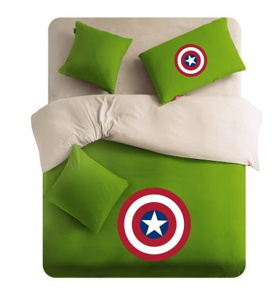 Lt Twin Full Queen Size 4-pieces Green Brown Captain America Soft Sanding Brushed for Kids Boys Girls Teens Character Cartoon Toddler Prints Fitted Sheet Sets (Mattress Cover) Ruffle Duvet Cover Set/bed Linens/bed Sheet Sets/bedclothes/bedding Sets/bed Sets/bed Covers/5-pieces Comforter Sets/bed in a Bag (Queen, 5pcs with comforter)