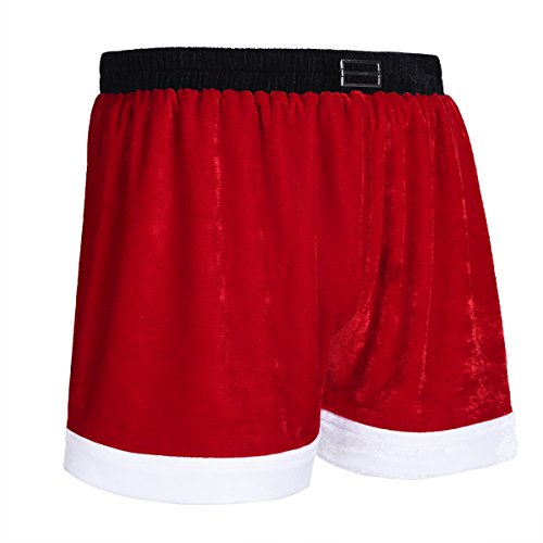 Freebily Men Flannel Christmas Santa Claus Holiday Boxer Shorts Lingerie Underwear