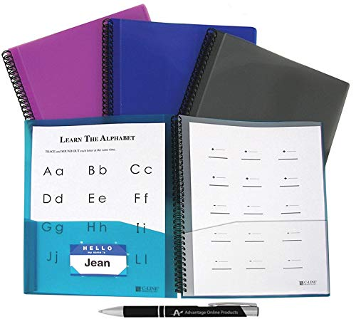 Value Bundle of 4 C-Line 8-Pocket Spiral-Bound Poly Portfolio, Letter Size, 1 of Each Color, (33080) Includes Bonus AdvantageOP Black and Chrome Retractable Pen