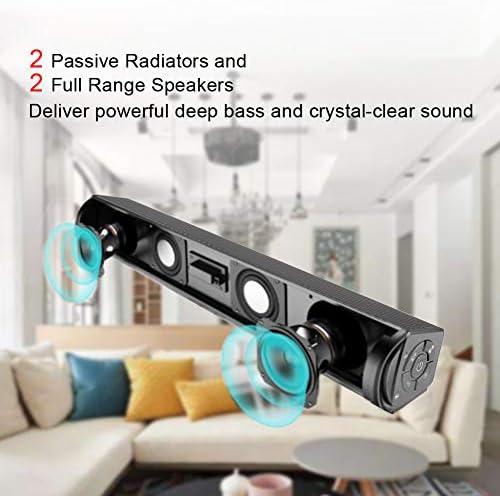 Bluetooth Speaker, Bluetooth 5.0 Sound Bar, Wireless Sound Bar, Stereo USB Powered 17-Inch Soundbar for PC Tablets Desktop Cellphone Computer[RCA, AUX](Black) 41FyZaOpCTL