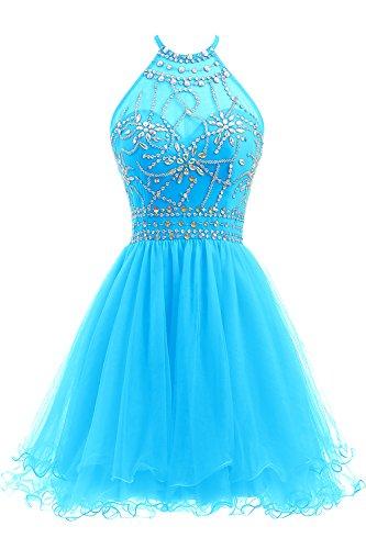 Ellames Women's Beaded Halter Homecoming Dress Short Tulle Prom Dress Blue US 16