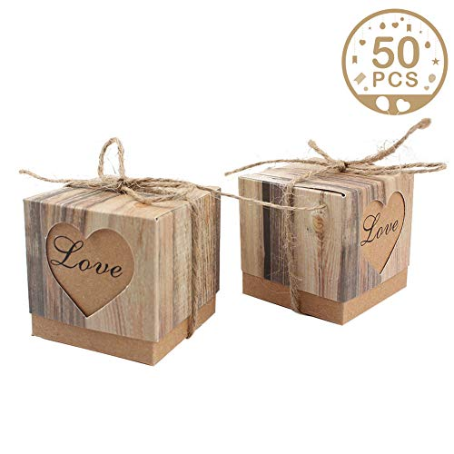 AerWo 50pcs Candy Favor Boxes Vintage Kraft Bonbonniere + 50pcs Burlap Twine, Love Heart Imitation Bark Gift Bag for Wedding Party Birthday Bridal Shower -