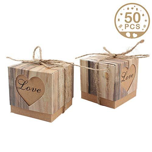 (AerWo 50pcs Candy Favor Boxes Vintage Kraft Bonbonniere + 50pcs Burlap Twine, Love Heart Imitation Bark Gift Bag for Wedding Party Birthday Bridal Shower Decoration)