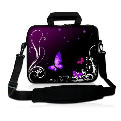 Sidorenko Designer Notebooktaschen mit Tragegurt + Tragegriff inkl. Zusatzfach für Maus und Ladegerät an der Vorderseite der Tasche // Größe 43,9cm von 17