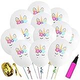 30 Pcs White Unicorn Birthday Balloons for Unicorn Theme Party, Kids Birthday Party, Baby Shower, Festival Party Decorations (White)