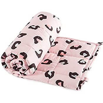 Sivio Kids Weighted Blanket (7 lbs for Kids, 41 x 60 Inches) 100% Cotton Material Heavy Blanket with Glass Beads, Pink Leopard