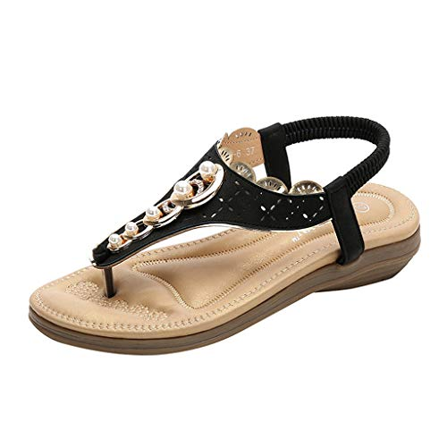 - Women's Summer Shoes Bohemian Flat Sliipers,Ladies Clip-Toe Elastic Band Outdoor Beach Soft Flats Thick-Bottomed Sandals (Black, US:8)