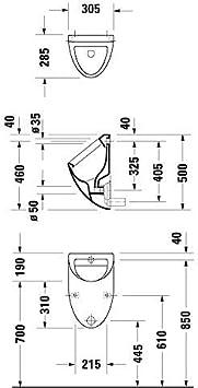 Duravit Urinal Fizz wei/ß 823360000 Zulauf von hinten ohne Deckel 823360000