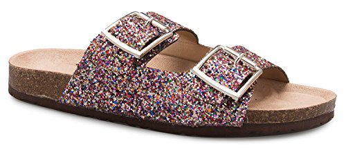 (OLIVIA K Women's Summer Open Toe Double Buckle Strap Fashion Cozy Footbed Flat Sandals)