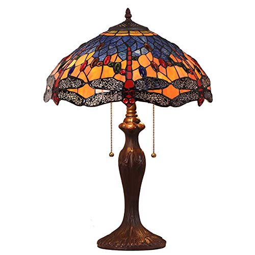 Bieye L10690 Dragonfly Tiffany Style Stained Glass Table Lamp with 16 Inch Wide Handmade Shade and Metal Base with Dark Brown Baking Finish, Orange Blue, 16