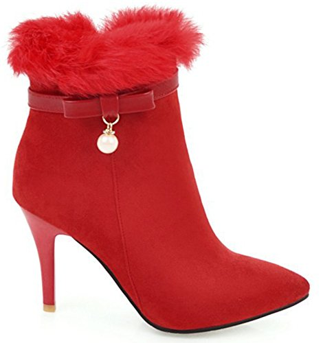 Booties Party Bowknot High Elegant Fluffy Women's Red Stilettos Fur Lined SHOWHOW Pearl fT71vv