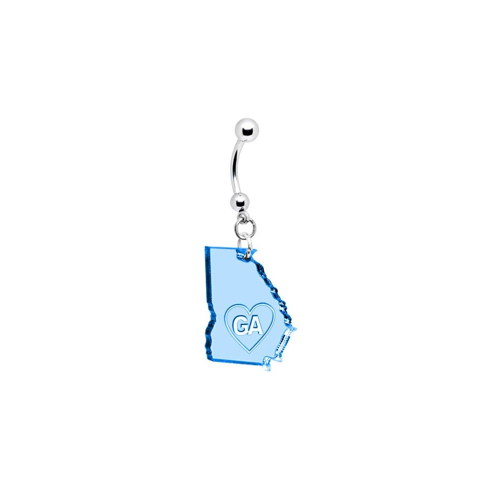 Light Blue State of Georgia Belly Ring