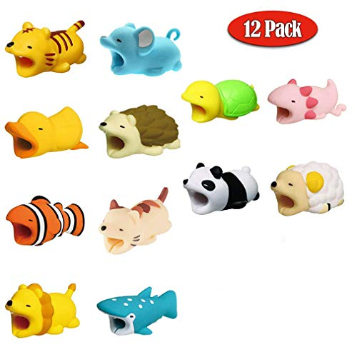 Moshkai 12 Pack Cute Animals Cable Bites, Various Animal Cable Bites Cable Accessories Phone Cables Protects