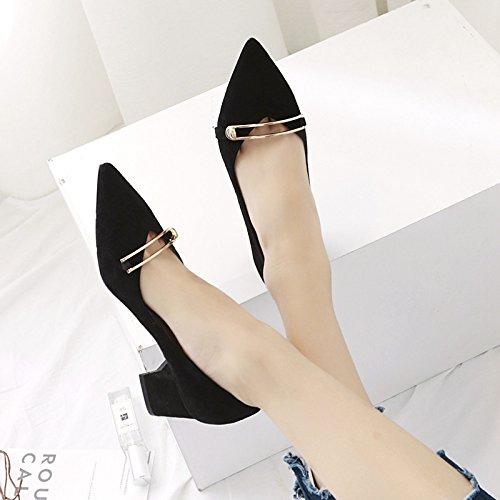 scarpe metallo scarpe donna Moda bold donna profonda poco 35 punta da moda da satinato yalanshop bocca con chiusura nero scarpe unica con ZSq0p