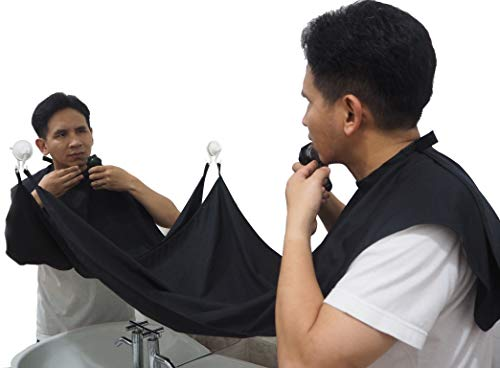 D LANNA : Beard Bib Hair Clippings Catcher - Grooming Cape Shave Apron -Trimming Apron - Beard Catcher- Keep Sink Clean- New Black