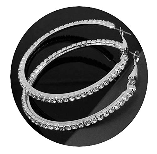 Pixel Jewelry 1985 – New 1 Pair Fashion Womens Full Crystal Rhinestone Hoop Big Circle Earring
