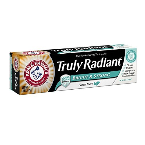 ARM & HAMMER Truly Radiant Bright & Strong Fluoride Anticavity Toothpaste Fresh Mint 4.3 oz ( Packs of 4)