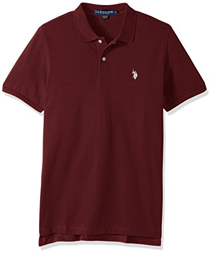 U.S. Polo Assn. Men's Classic Polo Shirt, Burgundy Heather/Winter White, S