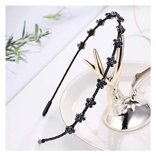 (Elegant Hairbands Metal Dark Blue Flowers Rhinestone Hoop Hair Classic Crystal Headbands Head Ladies Women)