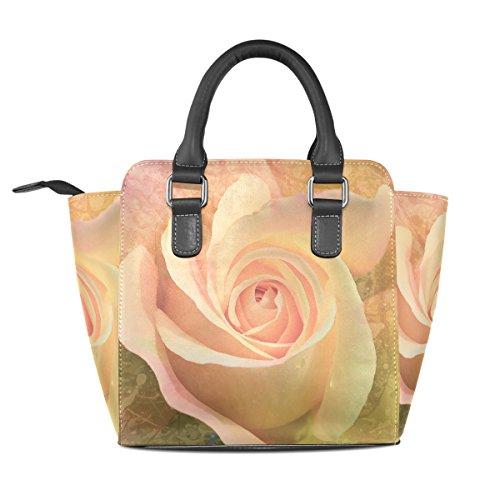 Purse Bag Rivet Shoulder Tote Women's Bennigiry Pink Rose Leather PU Bag Hvx1vfBqw