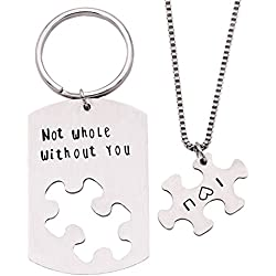 Melix Home Not Whole Without you Keychain Necklaces Set (White)