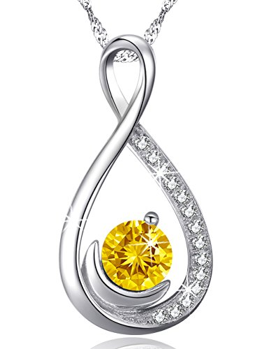 Love Infinity and Moon Jewelry Gifts for Wife for Women Citrine Pendant Necklace Birthday Anniversary Gifts for Lady for Her for Girlfriend Sterling Silver Swarovski 18