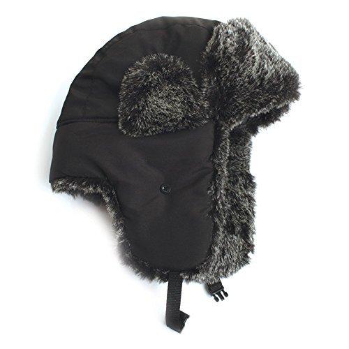 City Hunter Trapper Bomber Cap Hat Faux Fur,Black,One size ()
