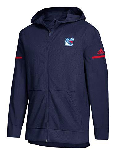 adidas NHL 2018 Mens Squad Full Zip Mesh Hooded Jacket (X-Large, New York Rangers) ()