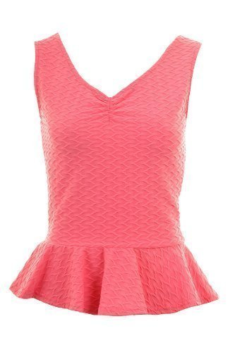 FANTASIA BOUTIQUE Damas V Delantera Trasera de canalé Volante Holgado Corto Largo Peplo Mujer corto Camiseta 8-14 Rosa