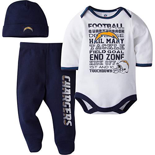 NFL Los Angeles Chargers Unisex-Baby Bodysuit, Pant, Cap Set, Navy, 0-3 Months