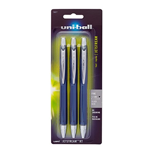 Uni-Ball Jetstream Retractable Ball Point Pens,0.7mm, Black Ink, 3-Count - Ball Jet