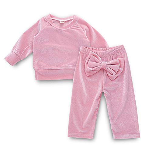 Lollyeca Kids Baby Girls Solid Cotton Long Sleeve Tops+Bow Pants Clothes Sets for $<!--$9.99-->