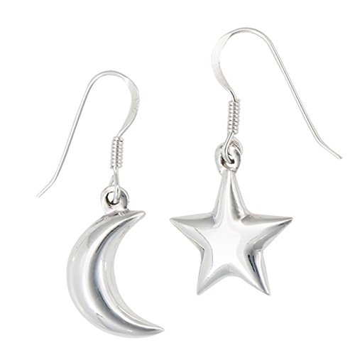 (Sterling Silver Puffed Moon Star Mismatch Pair Drop Dangle Earrings )