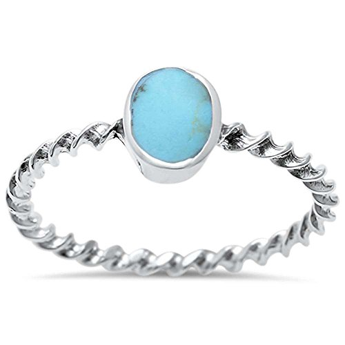 (Sterling Silver Oval Turquoise Twisted Band Ring Sizes 9)