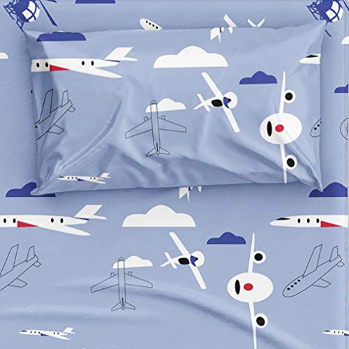DEKOSH Aviation Theme Kids Bedding with Airplanes, Helicopter & Clouds - Boys/Girls 3 Piece Sky Blue Bed Sheet Set, Twin