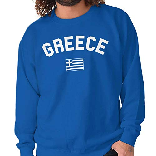 - Brisco Brands Greece Country Flag Soccer Fan Pride Gift Crewneck Sweatshirt