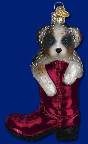 Old World Christmas Puppy In Boot Ornament (Dog Ornament Christmas Puppy)