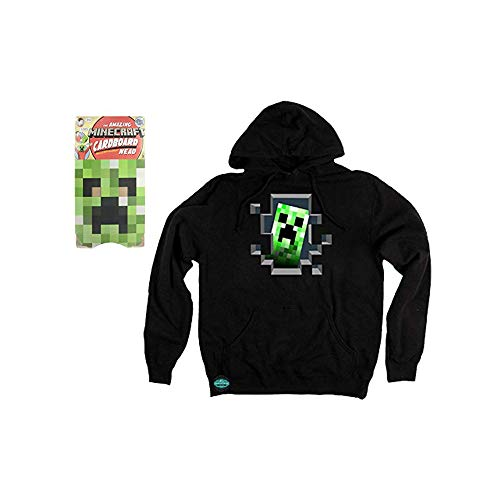 Maven Gifts: Minecraft Creeper Head Green Cardboard Mask and Creeper Inside Hoodie, Black, -