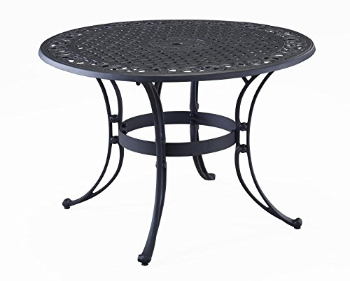Biscayne Black 48-Inch Round Outdoor Dining Table by Home Styles