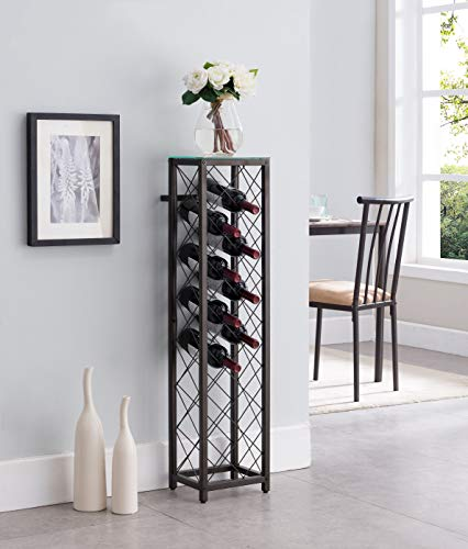 (Kings Brand Furniture – Metal with Glass Top Shelf Free Standing Wine Rack Storage Tower, Pewter)