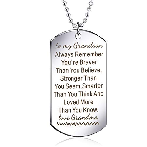 danjie Meaningful Dog Tag Necklace for Boy and Men,to My Grandson from Grandpa and Grandma Stainless Steel Necklace Inspirational Gifts for Grandson Jewelry (Nkc019, Stainless-Steel)