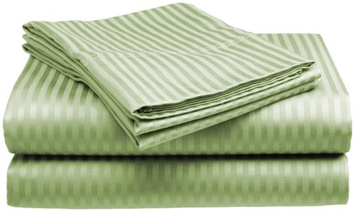 Queen Size 400 Thread Count 100% Cotton Sateen Dobby Stripe Sheet Set -Sage